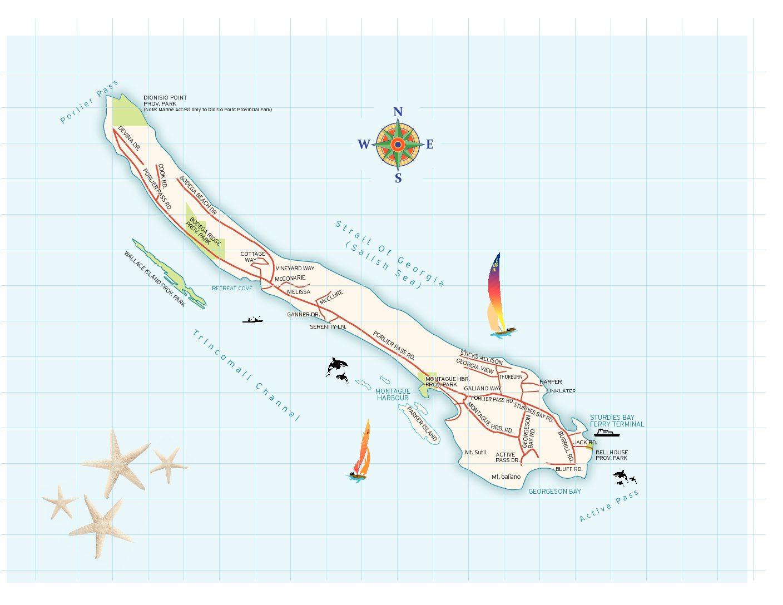 Map Of Galiano Island Gulf Islands Tourism