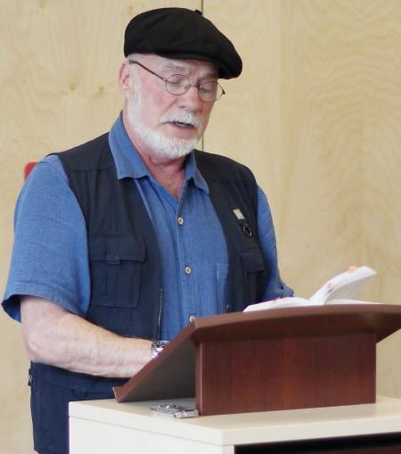 Author Arthur Black reading during a Salt Spring event.