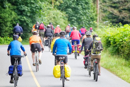 A cycling event on Salt Spring Island