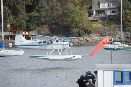 Floatplane lands in Ganges Harbour, Salt Spring Island