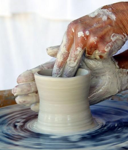 A Salt Spring potter at work.