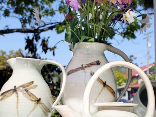pottery at Salt Spring market